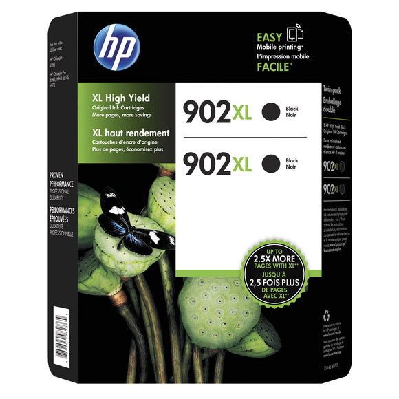 HP 902XL High Yield Ink Cartridge, Black, 2-count