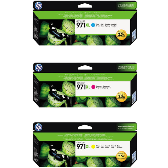 HP 971XL Ink Cartridge, Tri-Color, 3-pack