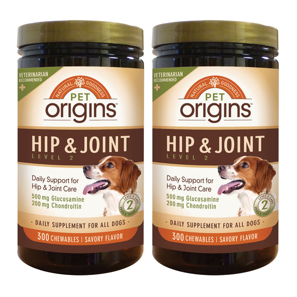 Pet Origins Hip & Joint Level 2 Chewable Tablets 300-count, 2-pack