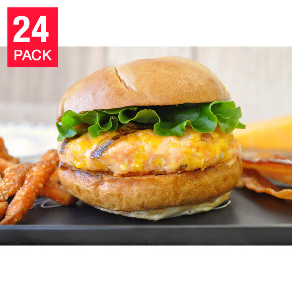 Northwest Fish Cheddar Bacon Salmon Burgers, 24-count, 9 lbs.