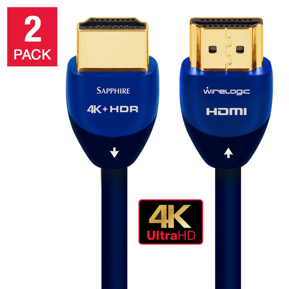 WireLogic 12 Feet Sapphire HDMI Cable 2-pack