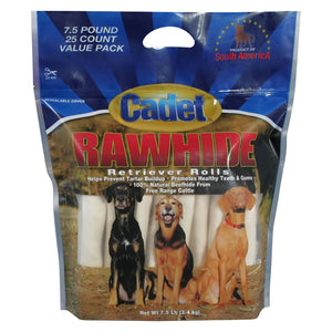 Cadet Rawhide Retriever Rolls Value Pack, 25-count
