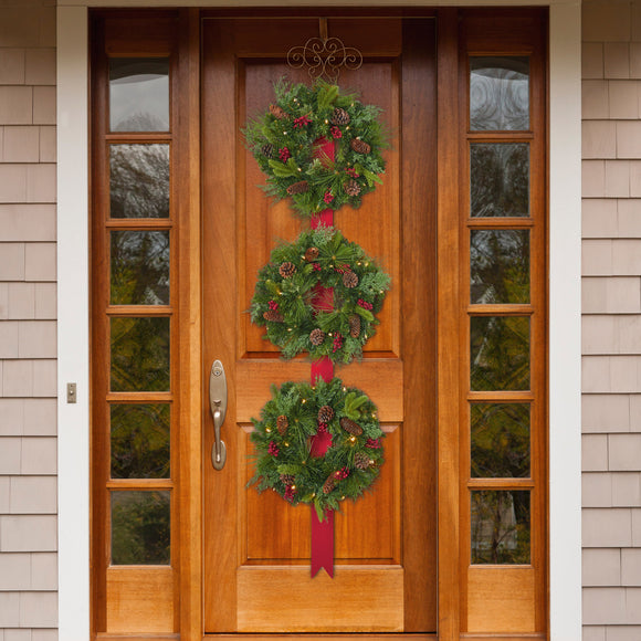 Artificial 3-Wreath Pre-Lit LED Door Hanger