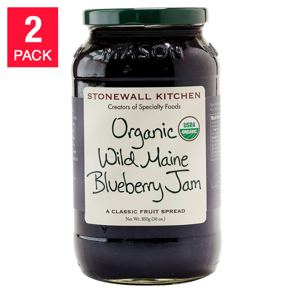 Stonewall Kitchen Organic Wild Maine Blueberry Jam, 30 oz. 2-count