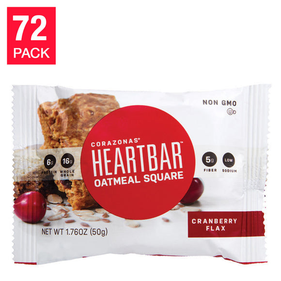 Cranberry Flax Oatmeal HeartBars, 72-pack