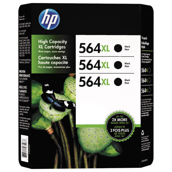 HP 564XL Ink Cartridge, Black, 3-count