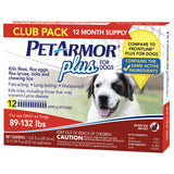 PetArmor Plus Flea, Tick and Lice Formula for Dogs 89-132 lbs, 12 Month Application