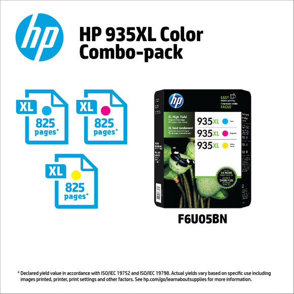 HP 935XL High Yield Ink Cartridges Color Combo Pack