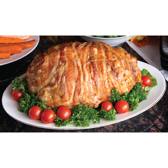 Echelon Foods Bacon-wrapped Turducken Roast with Italian sausage stuffing, 7 lbs.