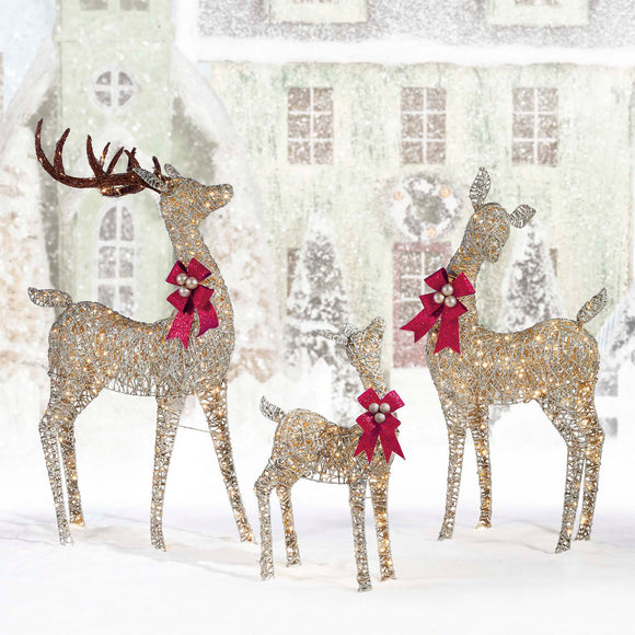 LED Deer Family, Set of 3