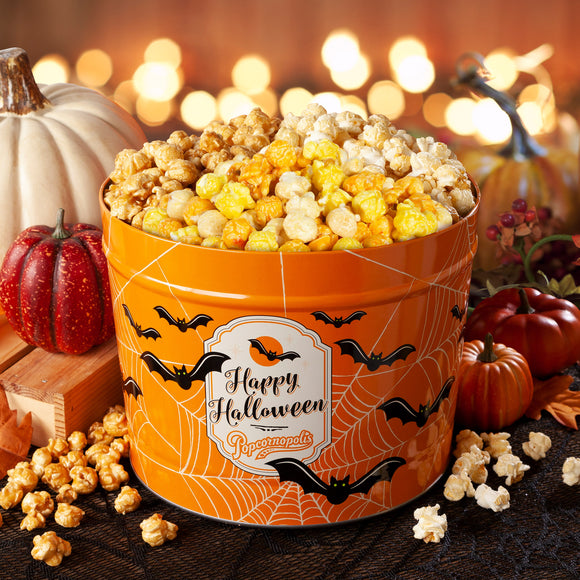 Popcornopolis 2 Gallon Halloween Bats Gourmet Popcorn Party Tin: Candy Corn, Caramel Corn, Kettle Corn