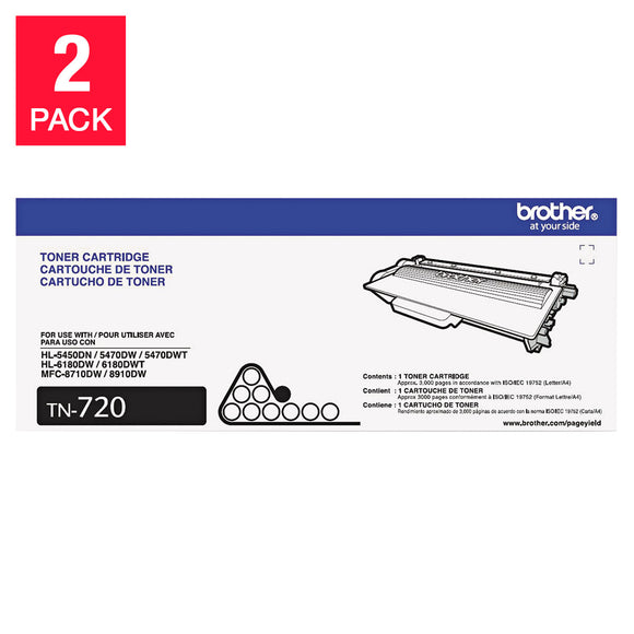 Brother TN720 Toner Cartridge, Black, 2-pack