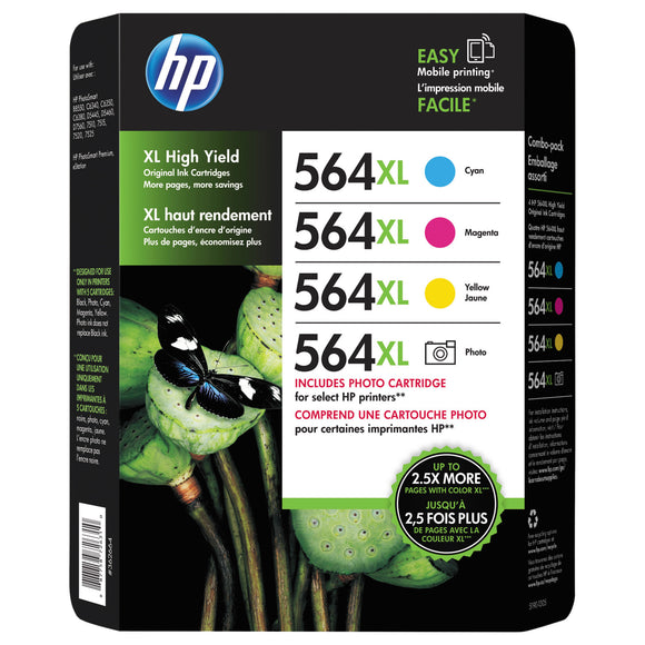 HP 564XL Photo & Ink Cartridge Tri-Color and Photo Black, Combo Pack