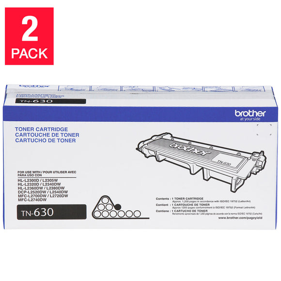 Brother TN630 Toner Cartridge, Black, 2-pack