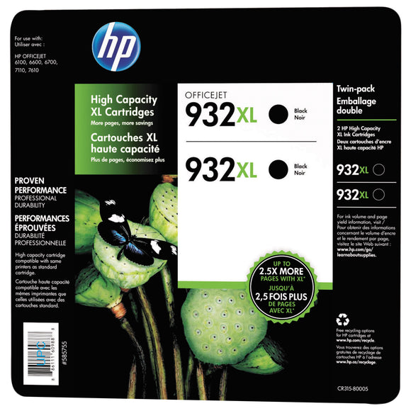 HP 932XL High Yield Ink Cartridge, Black 2-count