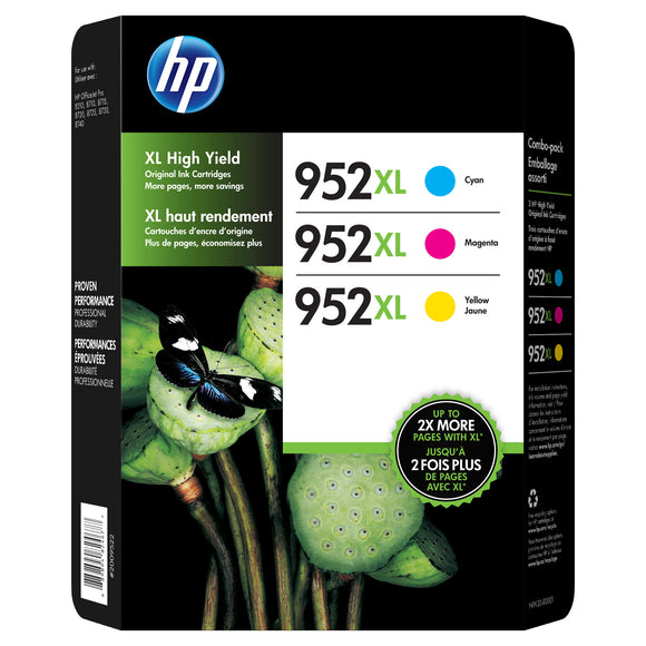 HP 952XL High Yield Ink Cartridge, Tri-Color Pack