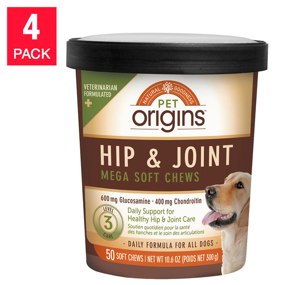Pet Origins Hip & Joint Mega Soft Chews 50-count, 4-pack