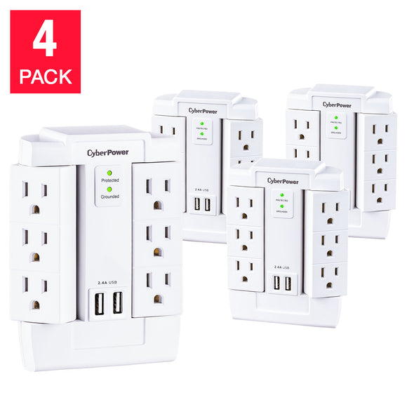 CyberPower 4-pack Wall Tap Swivel Surge with 6 Outlets & 2 USB Charging Ports
