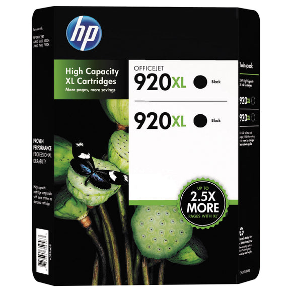 HP 920XL High Yield Ink Cartridge Black, 2-count