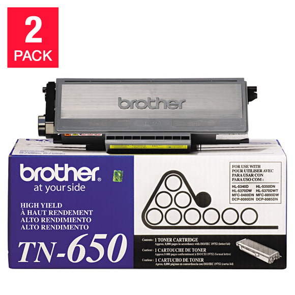 Brother TN650 High-Yield Toner, Black, 2-pack