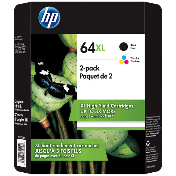 HP 64XL High Yield Ink Cartridge, Black & Multicolor, 2-count