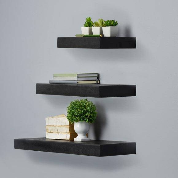 Melannco 3-piece Black Chunky Shelf Set