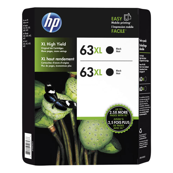 HP 63XL High Yield Ink Cartridge, Black, 2-count