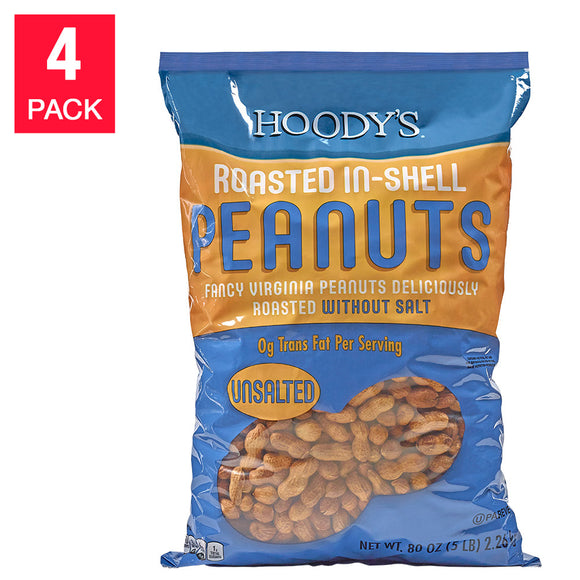 Hoody's Roasted Unsalted Peanuts 20 lbs,  (4 X 80 oz. Pack)
