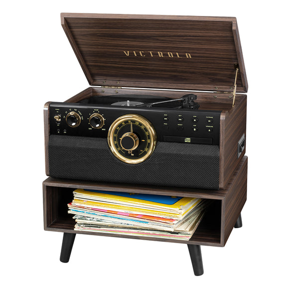 Victrola 6-in-1 Empire Turntable with Added Shelf, Espresso