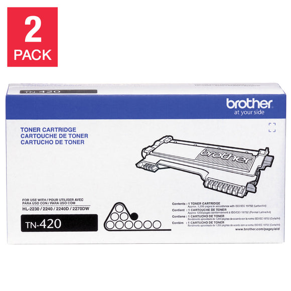 Brother TN420 Toner, Black, 2-pack