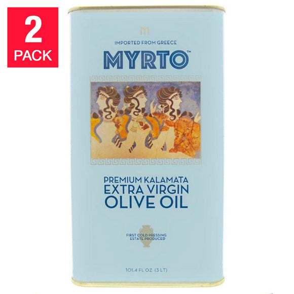 Myrtos Greek Extra Virgin Olive Oil 3L, Tins, 2-pack