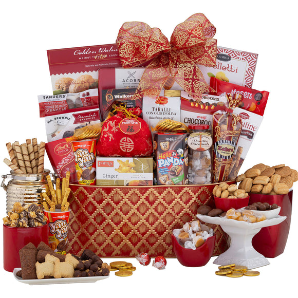 Good Fortune Red & Gold Holiday Basket