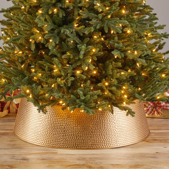 Metal Christmas Tree Collar, Gold Textured