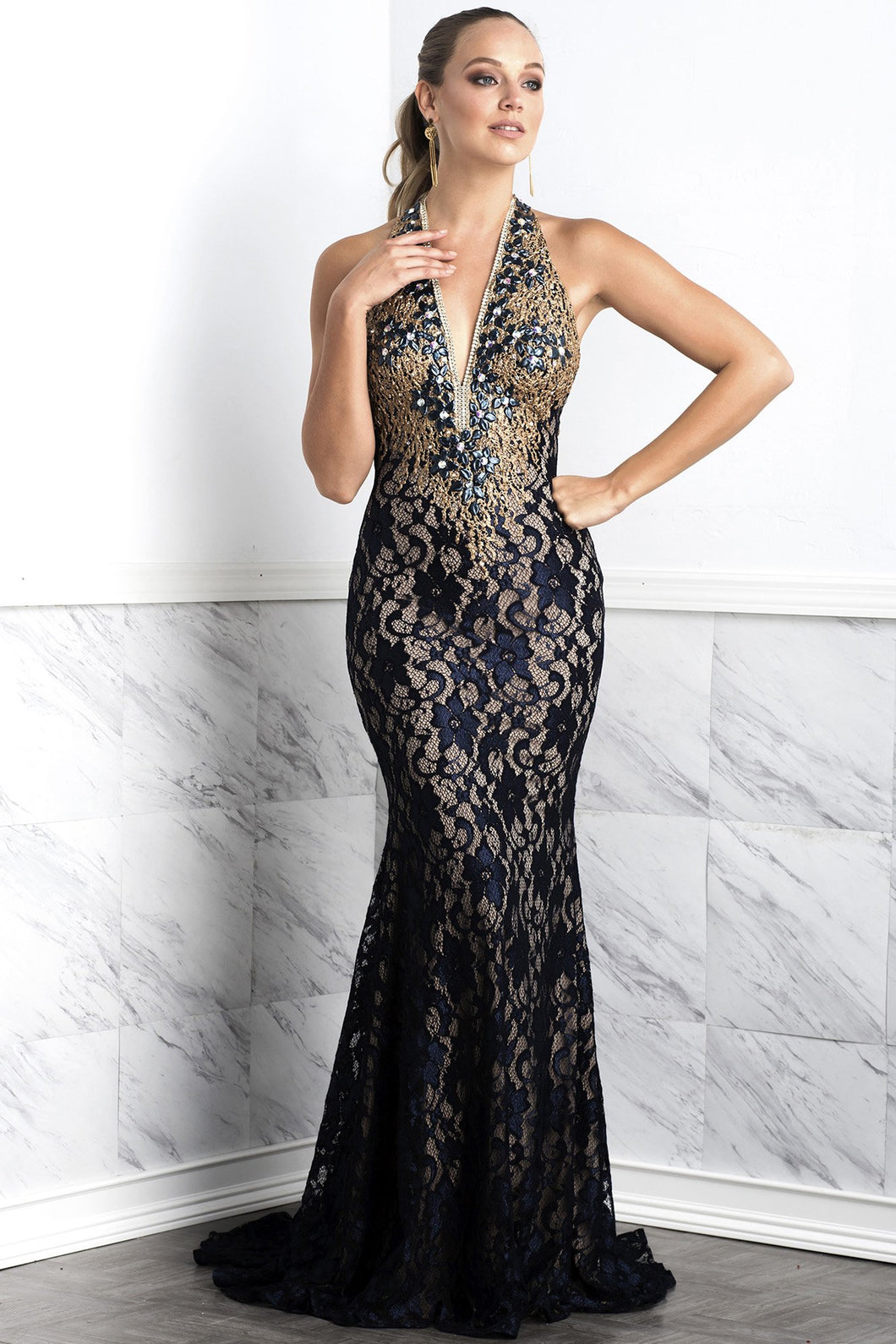 Liza Black Lace Long Dress - Gowns - BACCIO Couture