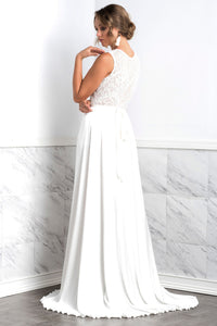 Isabel Silk Long Skirt White - BACCIO Couture