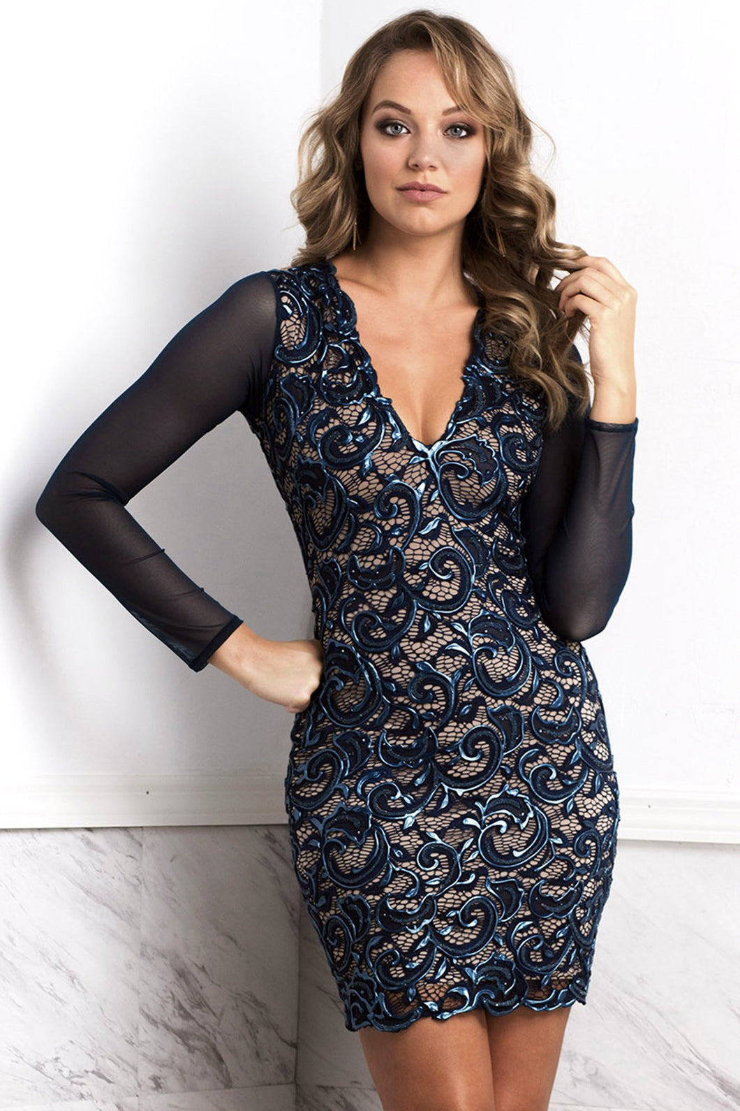 Judith Dark Blue Long Sleeves Lace Cocktail Dress - Short Dress - BACCIO Couture