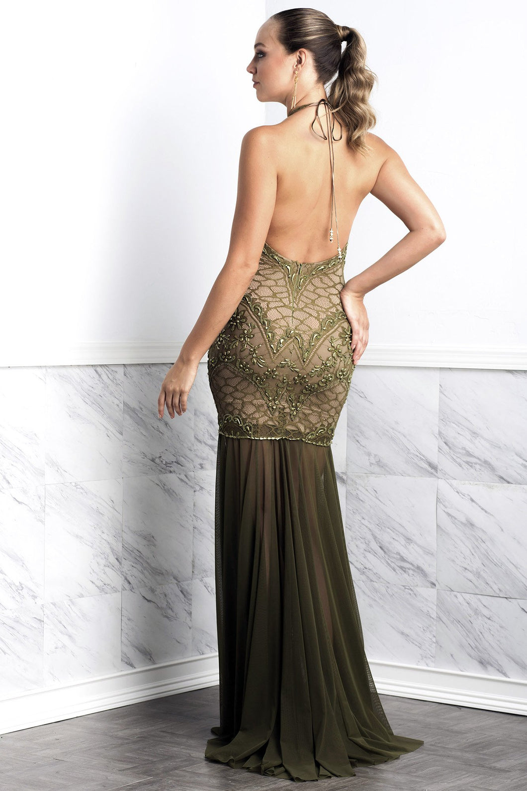 Victoria Green Long Dress - Gowns - BACCIO Couture