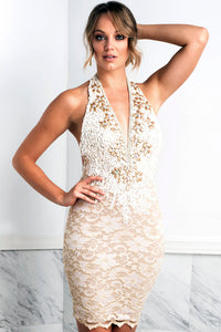 Liza Cream Cocktail Dress - Short Dress - BACCIO Couture