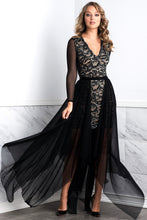 Load image into Gallery viewer, Leila Mesh Black Long Skirt - BACCIO Couture