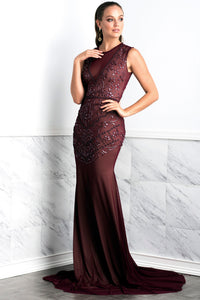 Zair Burgundy Long Dress - Gowns - BACCIO Couture