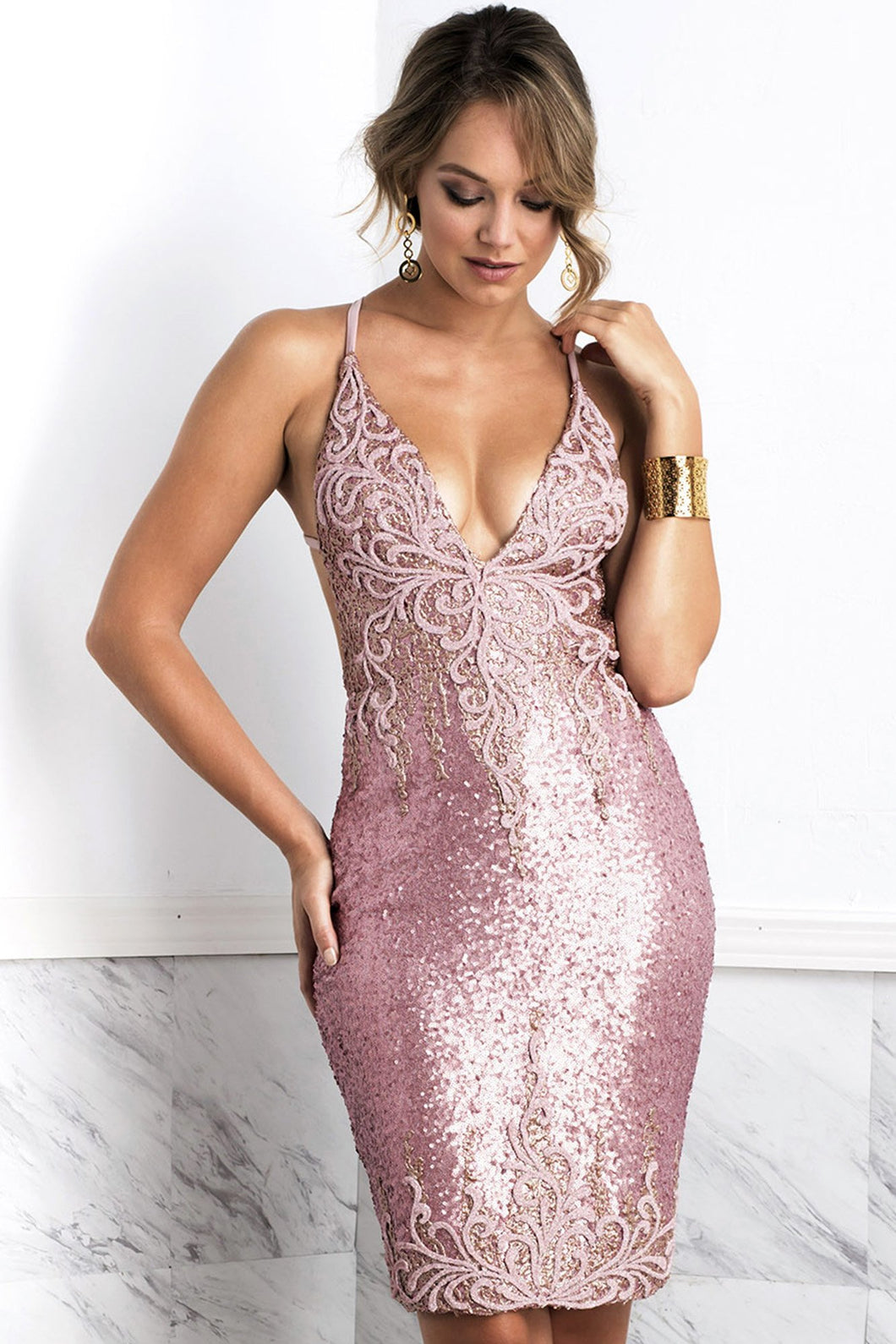 Luz Pink Straps Cocktail Dress - Short Dress - BACCIO Couture