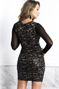 Judith Coffee Long Sleeves Lace Cocktail Dress - Short Dress - BACCIO Couture