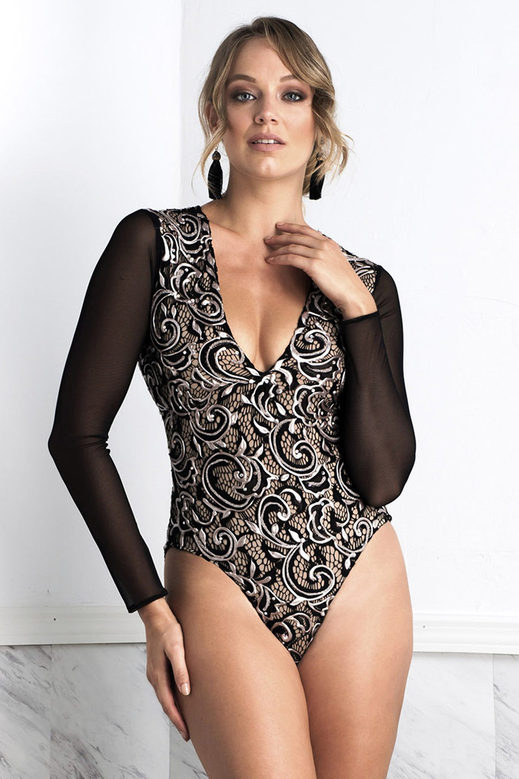 Leila Long Sleeves Coffee Body - Bodysuits - BACCIO Couture