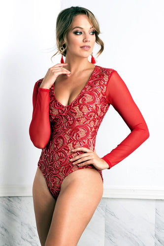 Leila Painted Sleeves Red Body - Bodysuits - BACCIO Couture