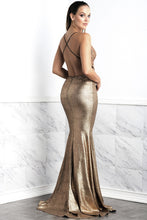 Load image into Gallery viewer, Luz Gold Coffee Long Dress - Gowns - BACCIO Couture