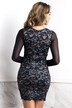 Load image into Gallery viewer, Judith Dark Blue Long Sleeves Lace Cocktail Dress - Short Dress - BACCIO Couture