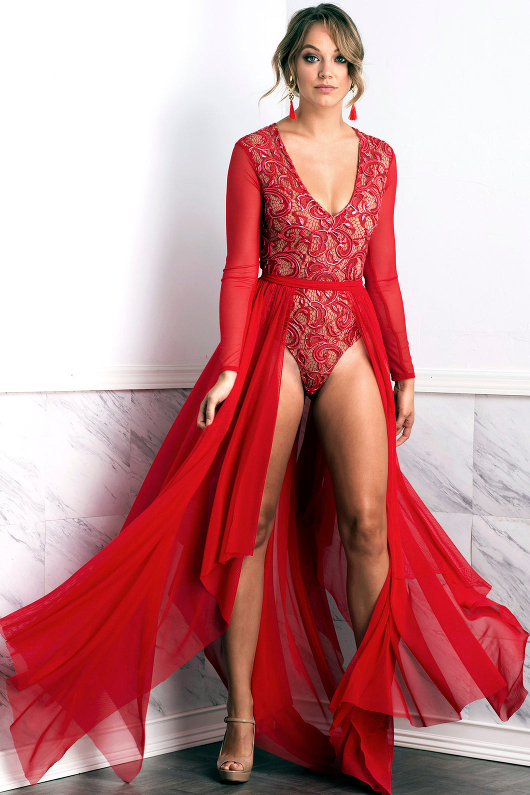 Leila Mesh Red Long Skirt - BACCIO Couture