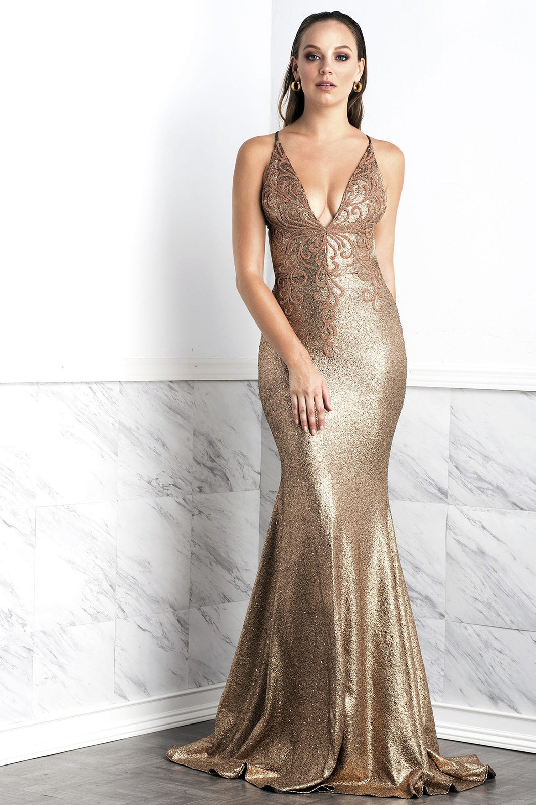 Luz Gold Coffee Long Dress - Gowns - BACCIO Couture