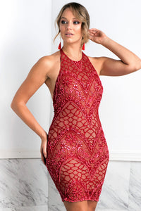 Victoria Red Short Dress - Cocktail Dress - BACCIO Couture