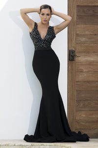 Adriana Painted Black Platinum Long Dress - BACCIO Couture